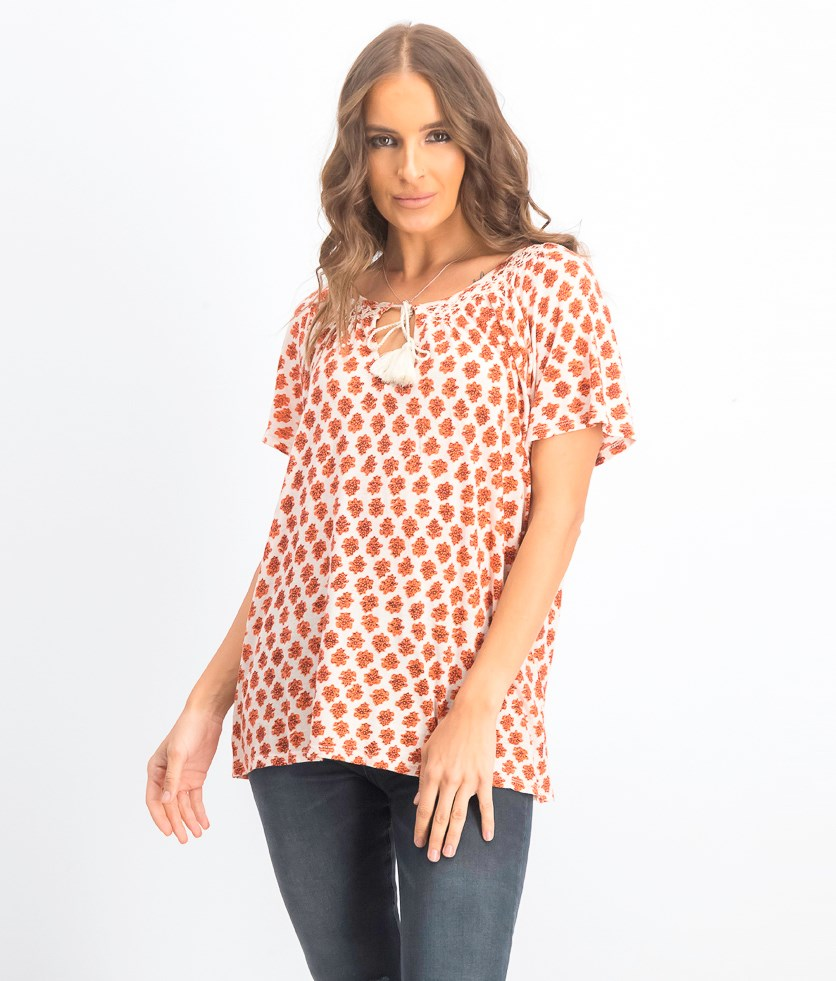 Women's  Printed Smocked Top, White/Brown