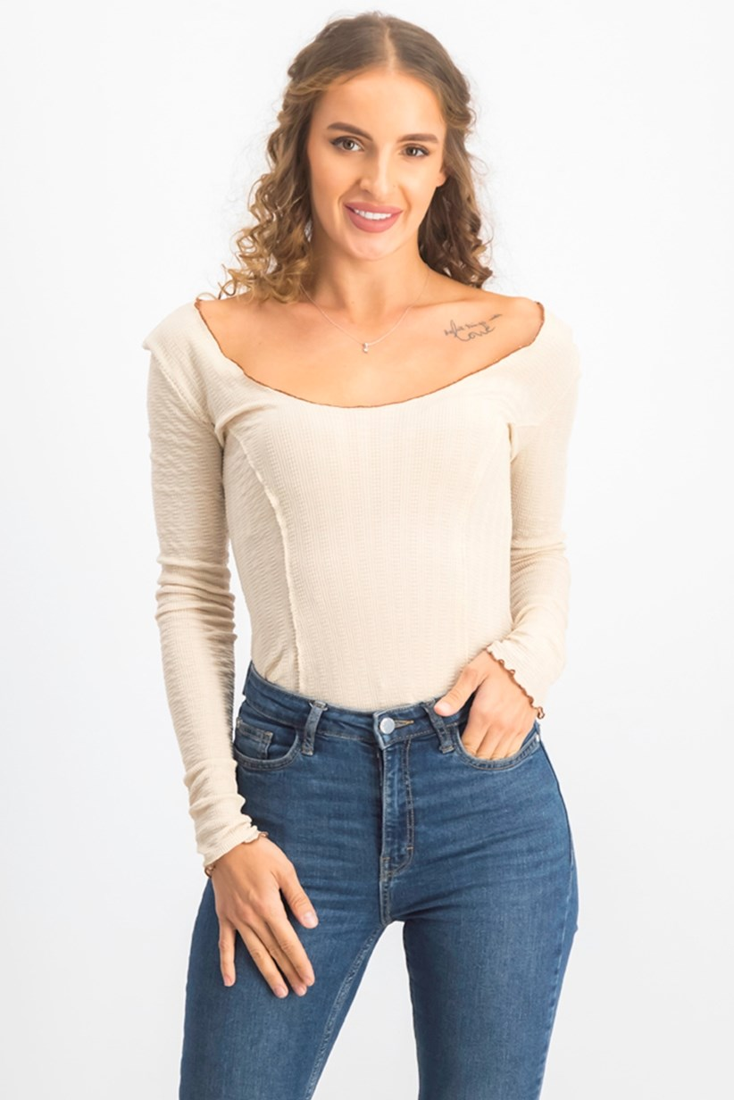 Women's Long-Sleeve Bodysuit, Almond