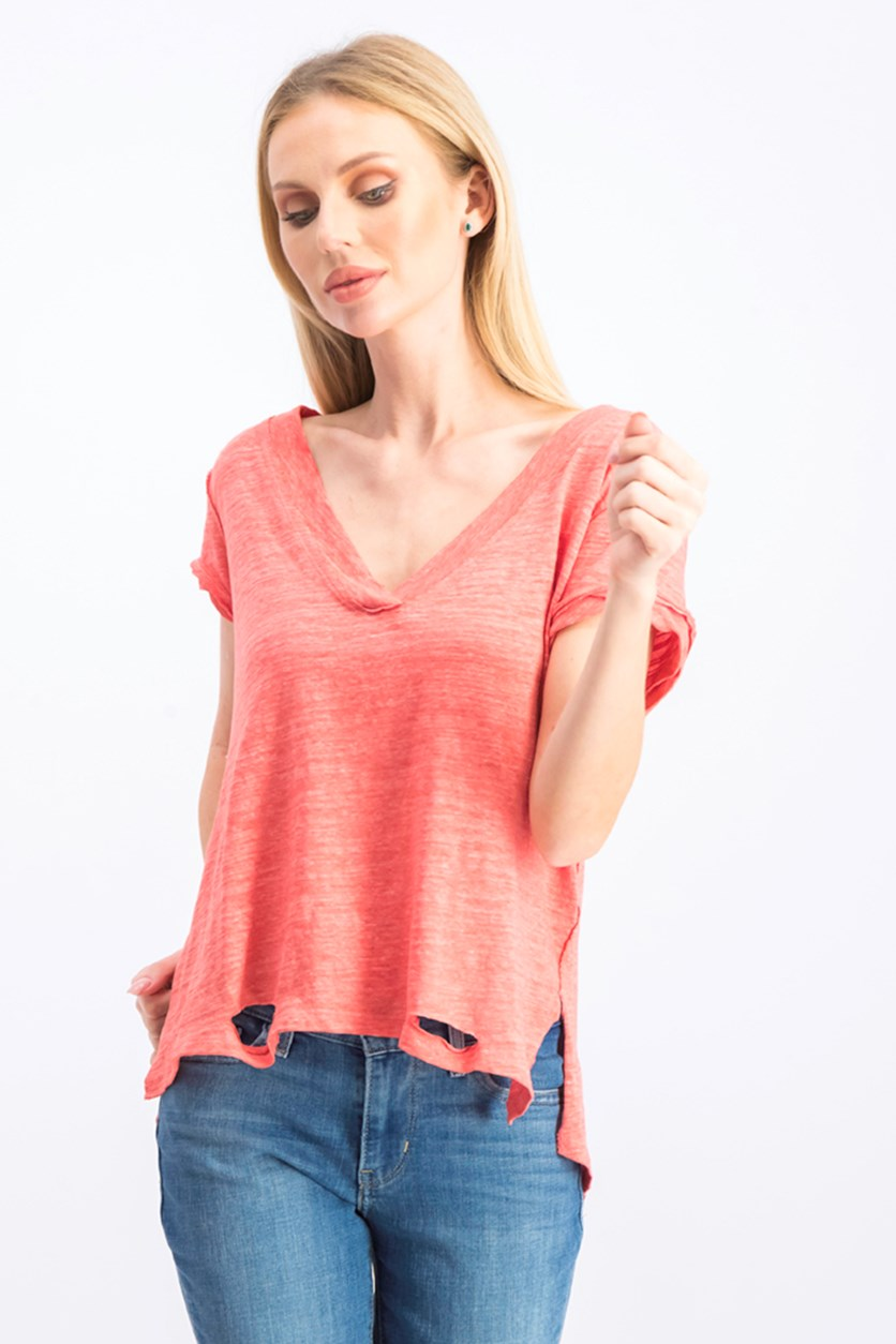 Women's V Neck Heather Top, Camelia