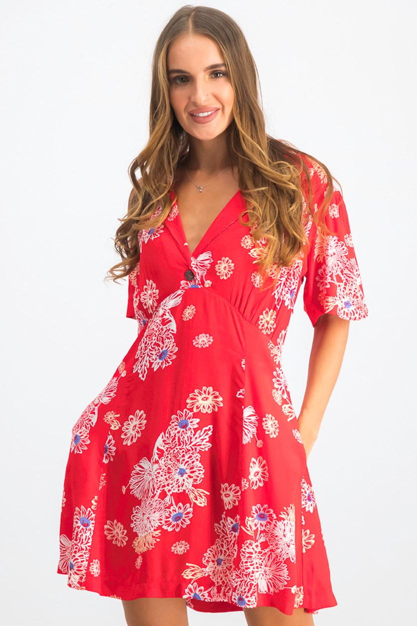 Women's Floral Print Hawaii Minidress, Red Combo