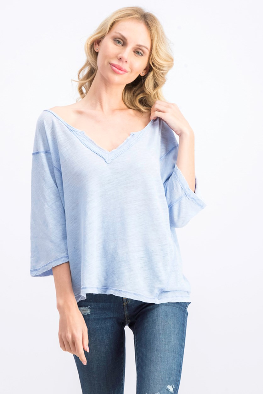 Women's V Neck Burnout Top, Light Blue