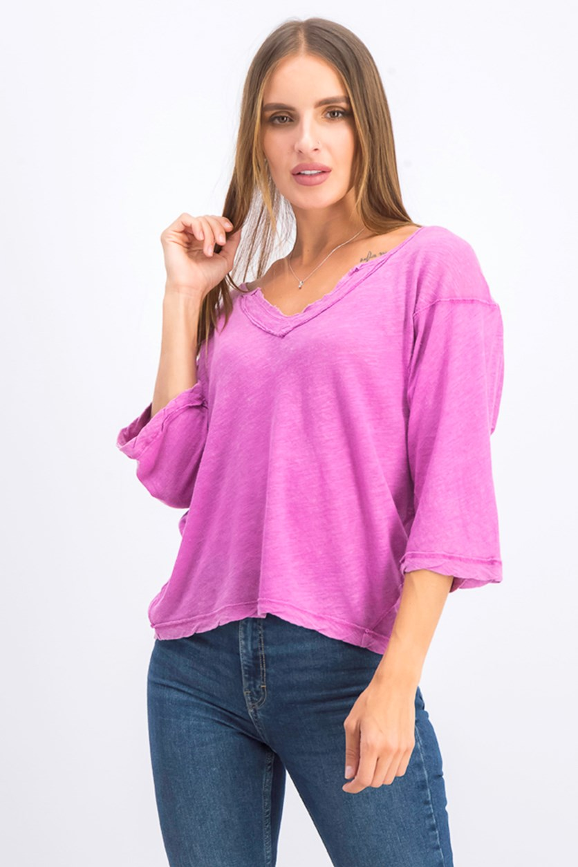 Women's V Neck Burnout Top, Electric Bloom