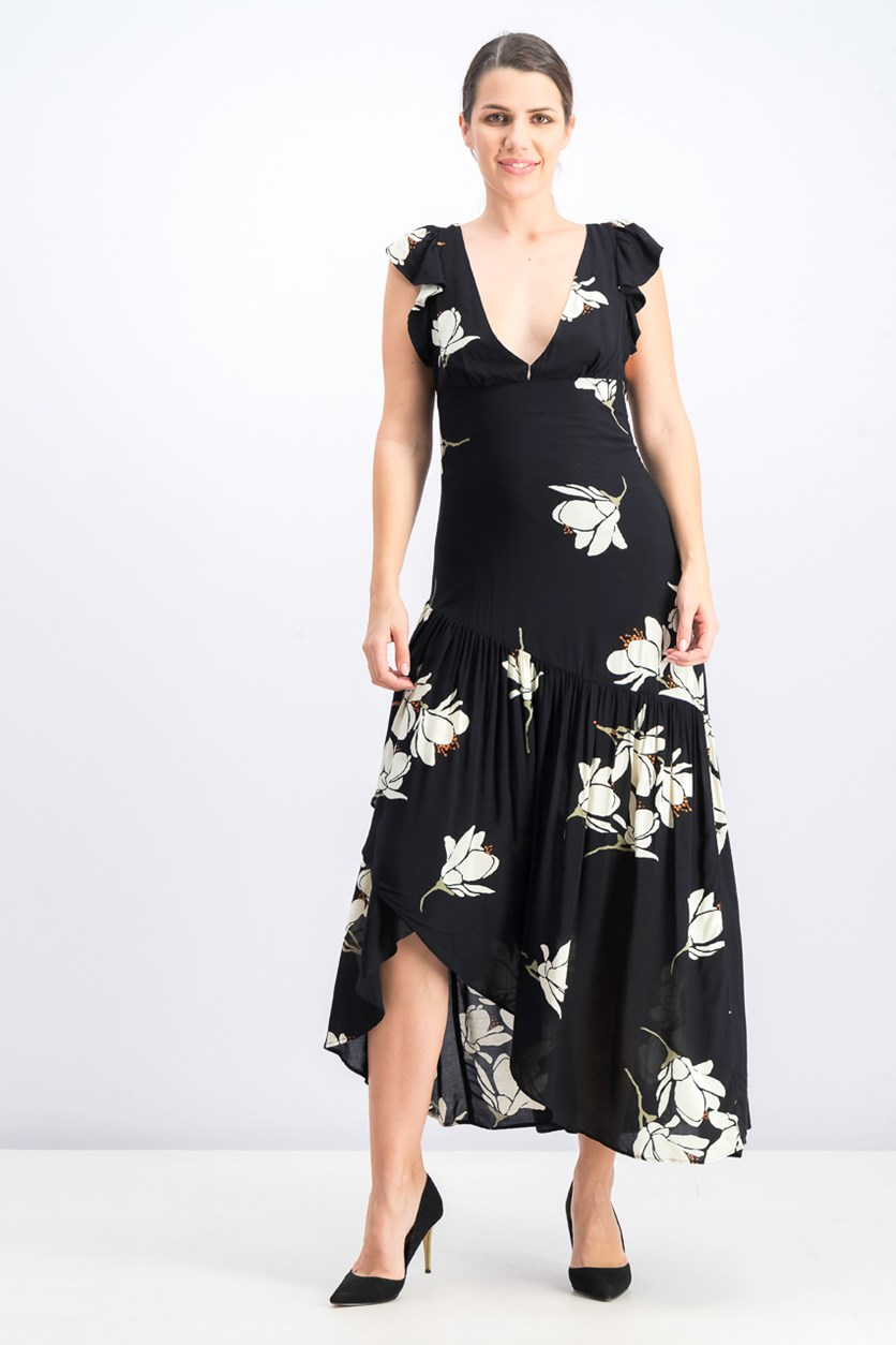 Women's Floral Print Waterfall Maxi Dress, Black/White