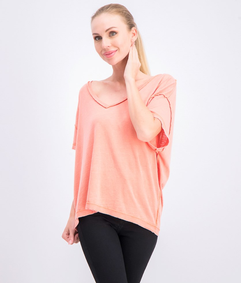 Women's Washed V-neck T-Shirts, Italian Apricot