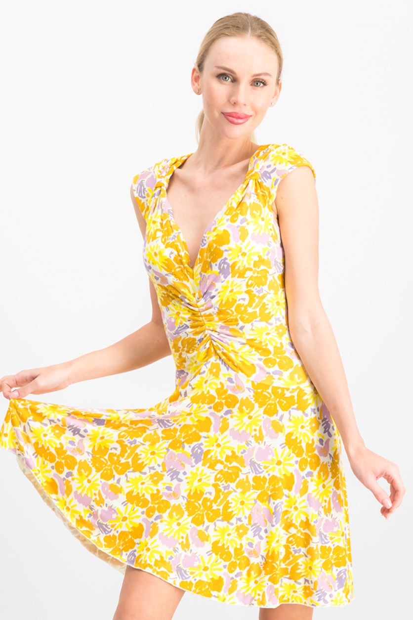 Women's Key To Your Heart Floral Minidress, Yellow