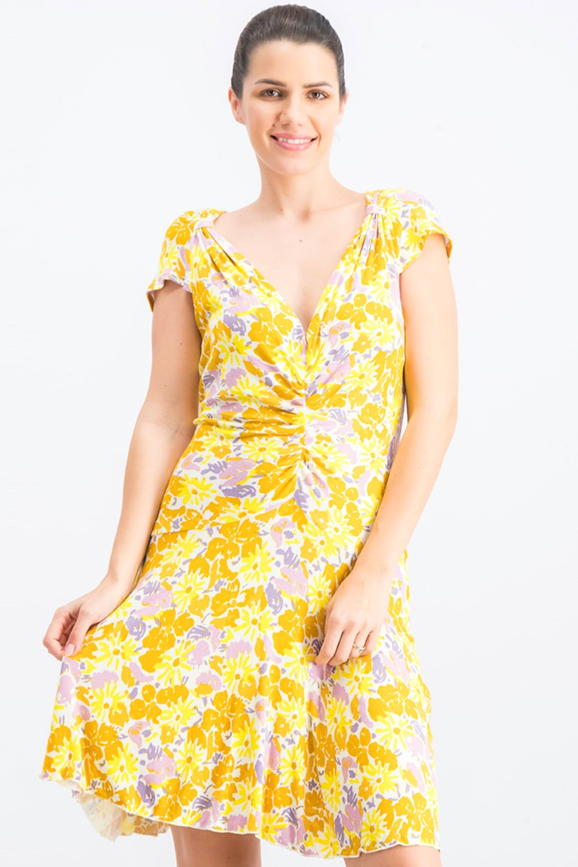 Women's Key To Your Heart Floral Minidress, Yellow Combo