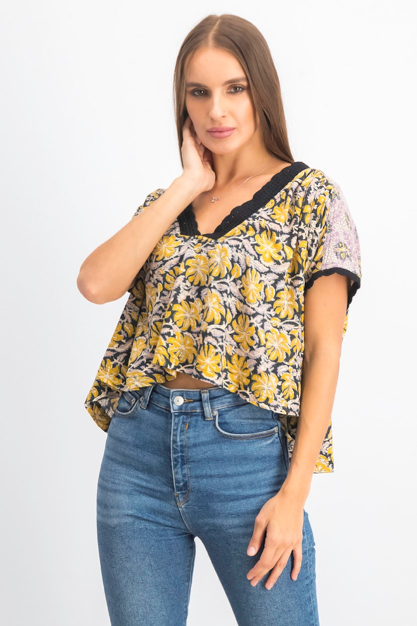 Women's  Leilani Printed Top, Yellow Combo