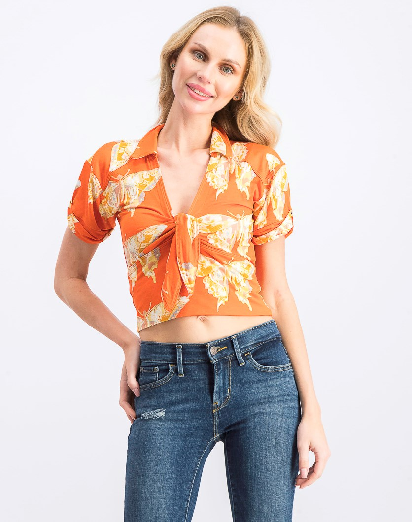 Women's Knot Neck Top, Tigerlily Combo
