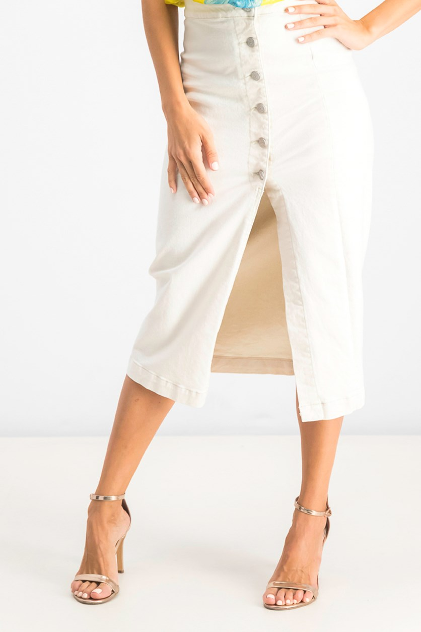 Womens Jasmine Button Midi Skirt, Pebble White