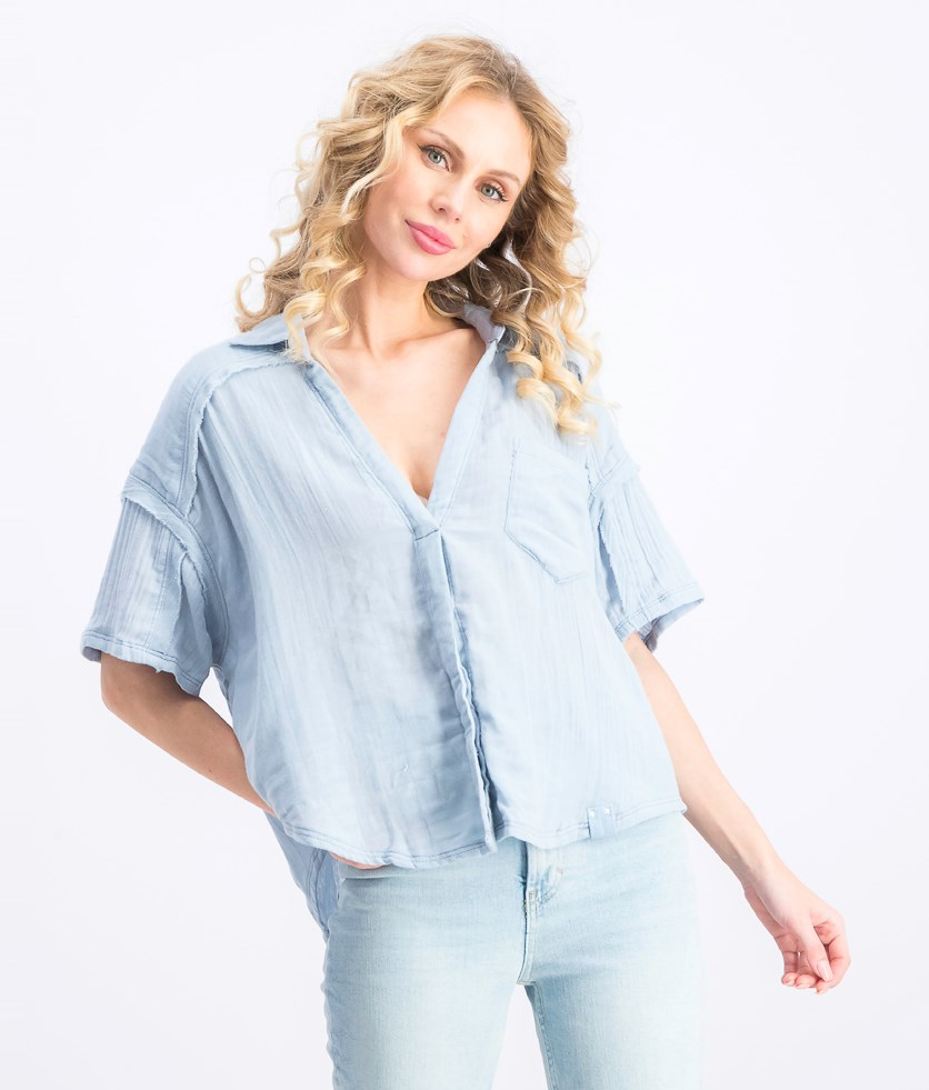 Women's Full Of Light Knot-Front Top, Wash Blue