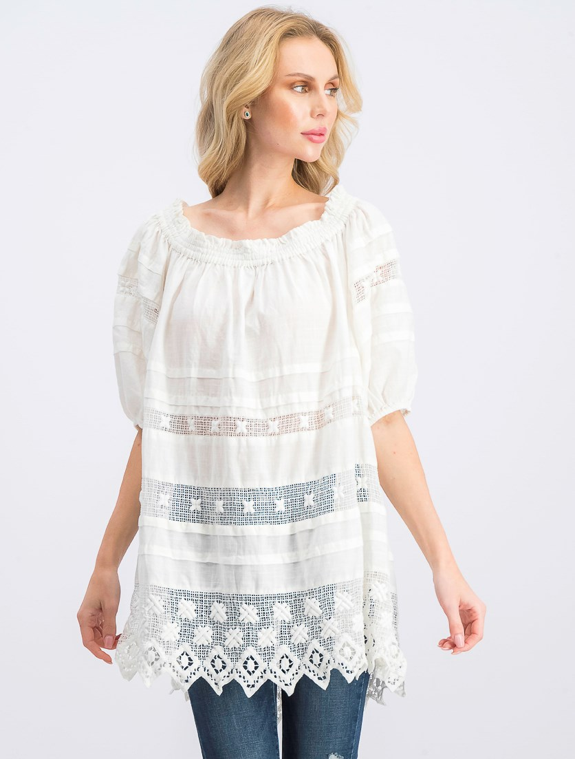 Women's Off Shoulder Tunic Top, Ivory