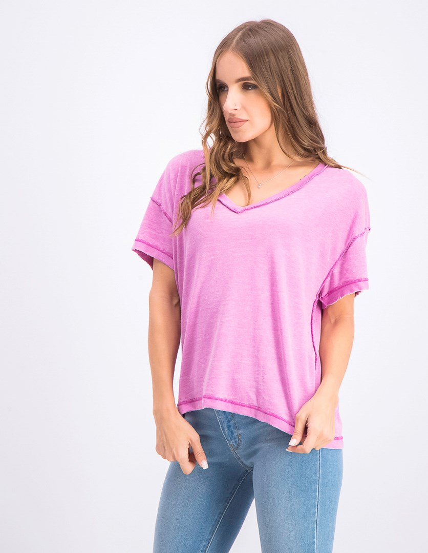 Women's Washed V-Neck T-Shirt, Purple