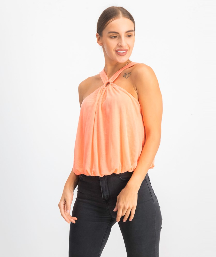Women's Sleeveless Cropped Top, Coral Elentric