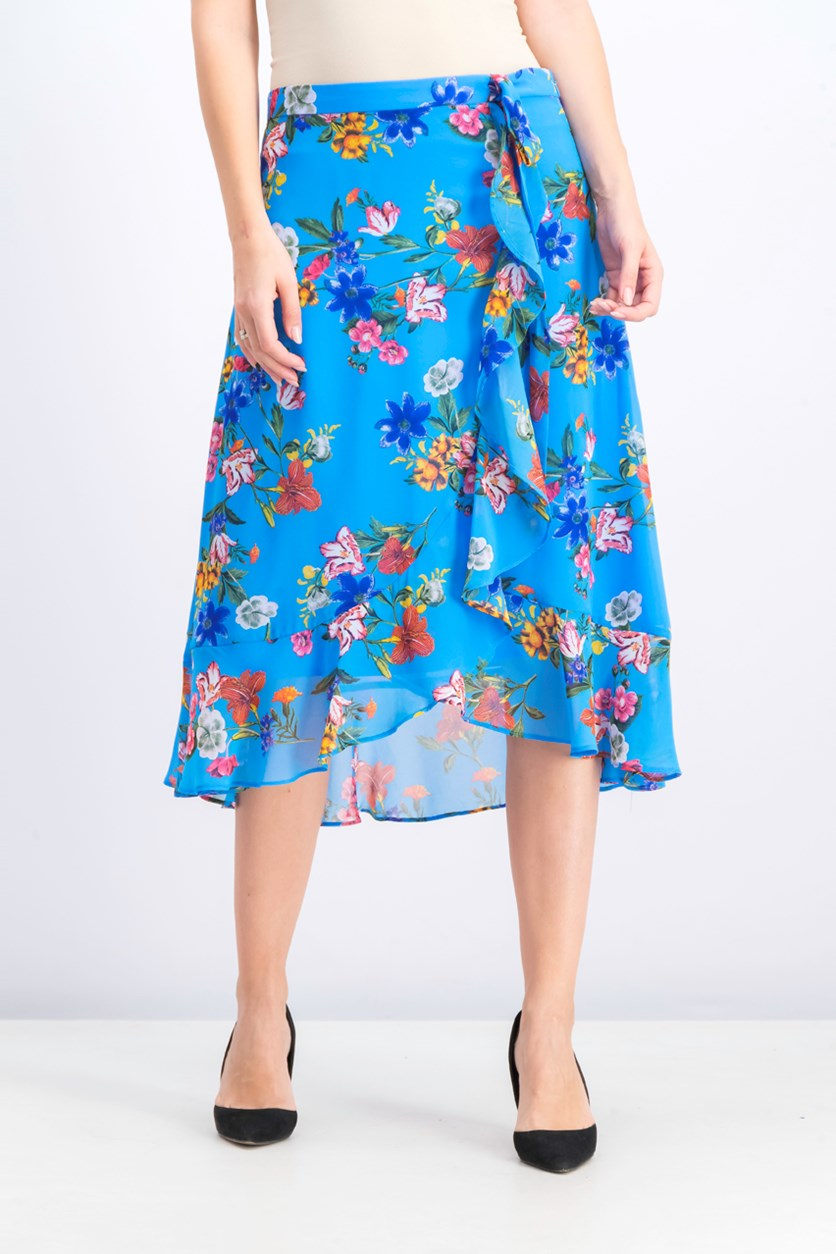 Women's Floral Midi Skirt, Blue