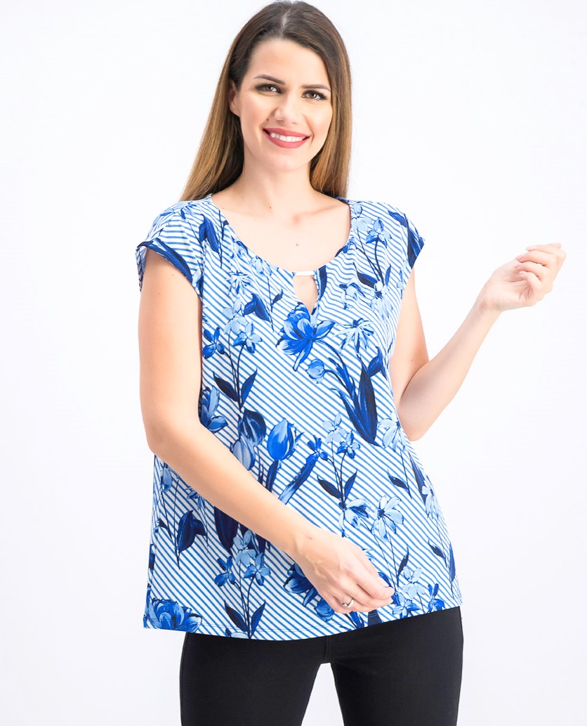 Women's Printed Keyhole Top, Blue/White