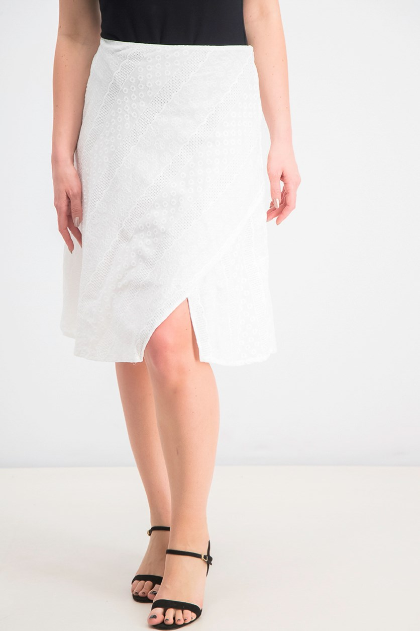 Women's A-Line Eyelet Skirt, White