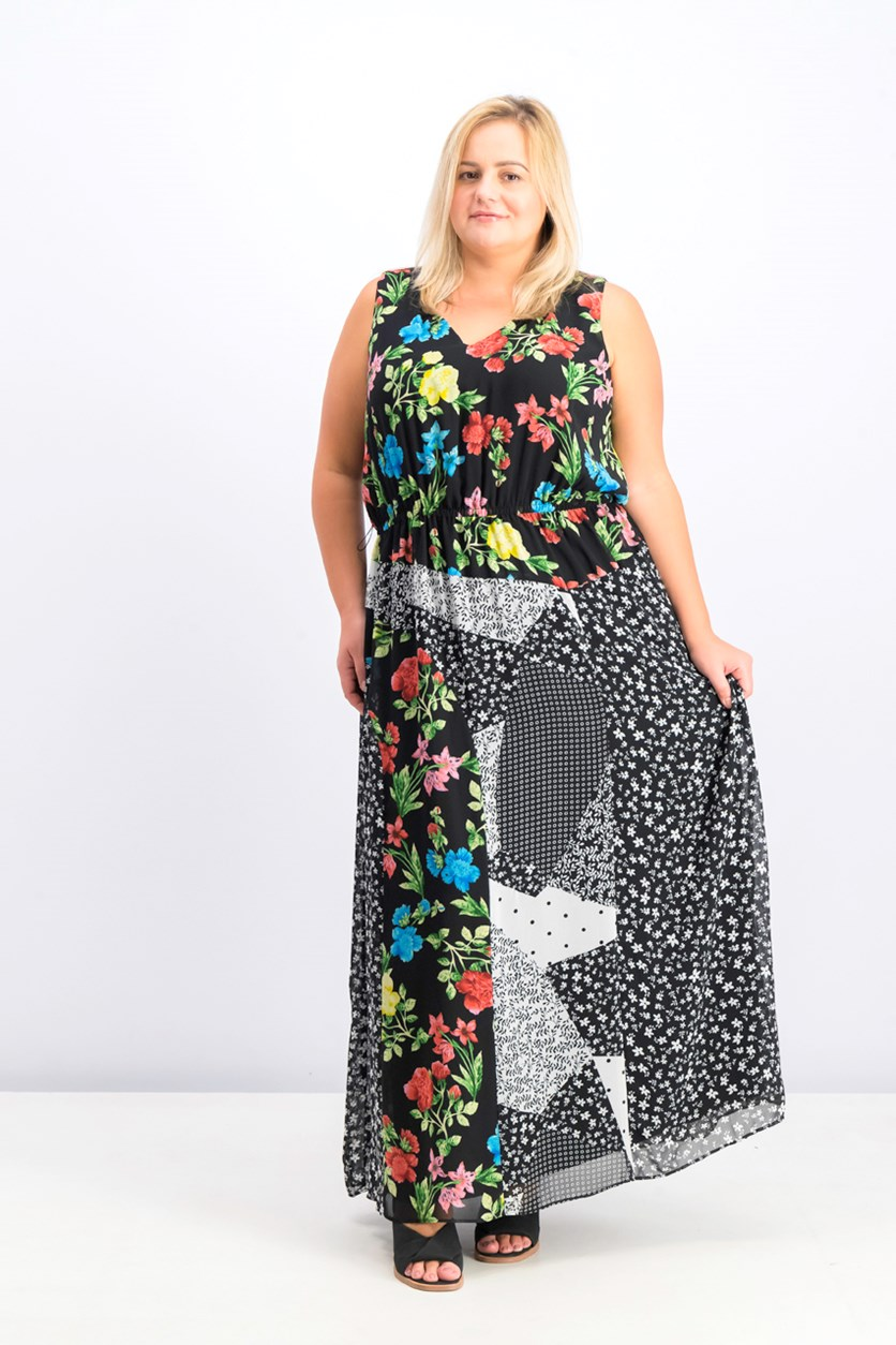 Women's Plus Size Mixed Print Maxi Dress, Black Combo