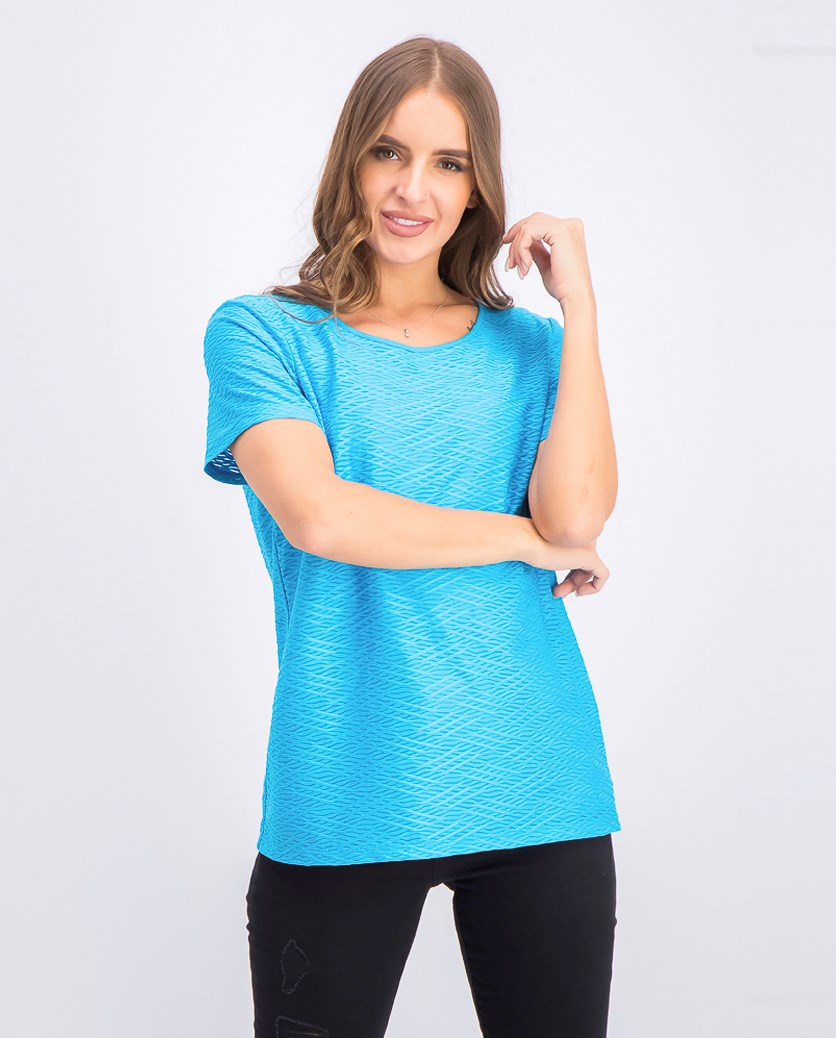 Women's Textured Scoop-Neck T-Shirt, Blue