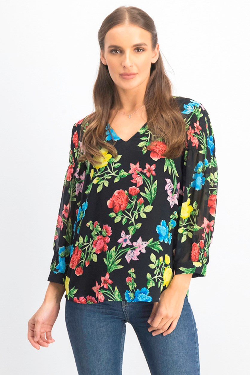 Women's Floral Smocked-Sleeve Top, Black Combo