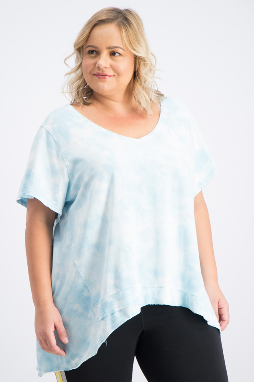 Plus Size Tie-Dyed High-Low Top, Cruise Tie-Dye