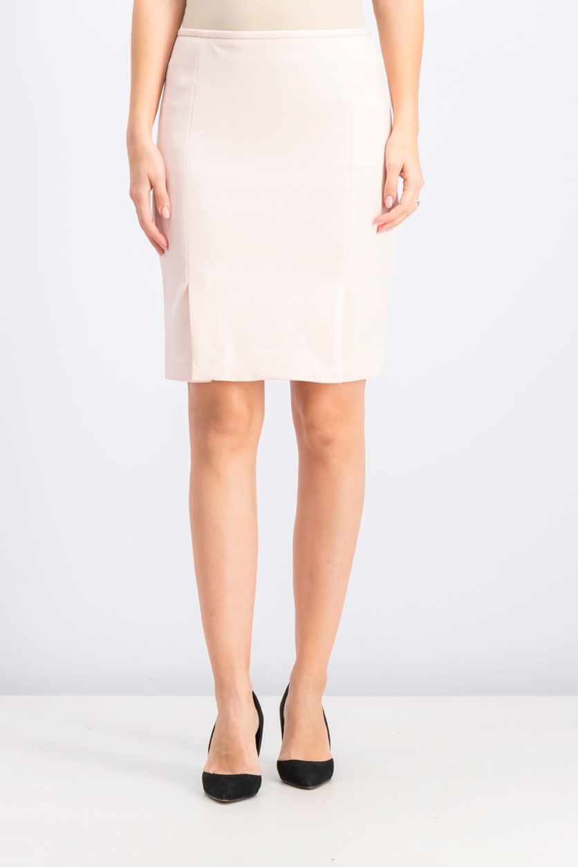 Women's Petite Twill Side Pleated Skirt, Rose White