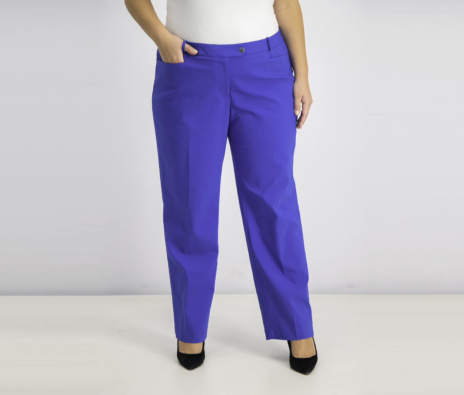 Women's Plus Size Trouser Pants, Regatta Blue