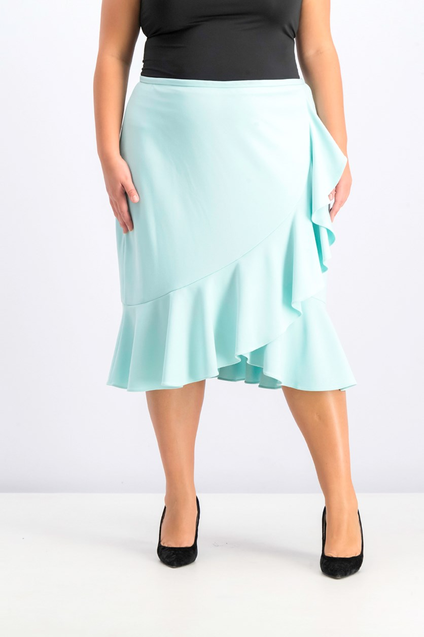 Women's Plus Size Ruffled Tulip-Hem Skirt, Turquoise