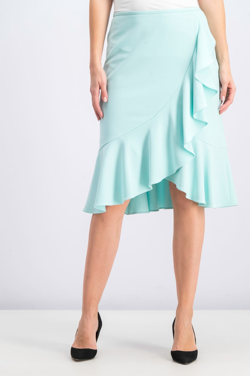 Women's Ruffled Pencil Skirt, Pastel Seaspray