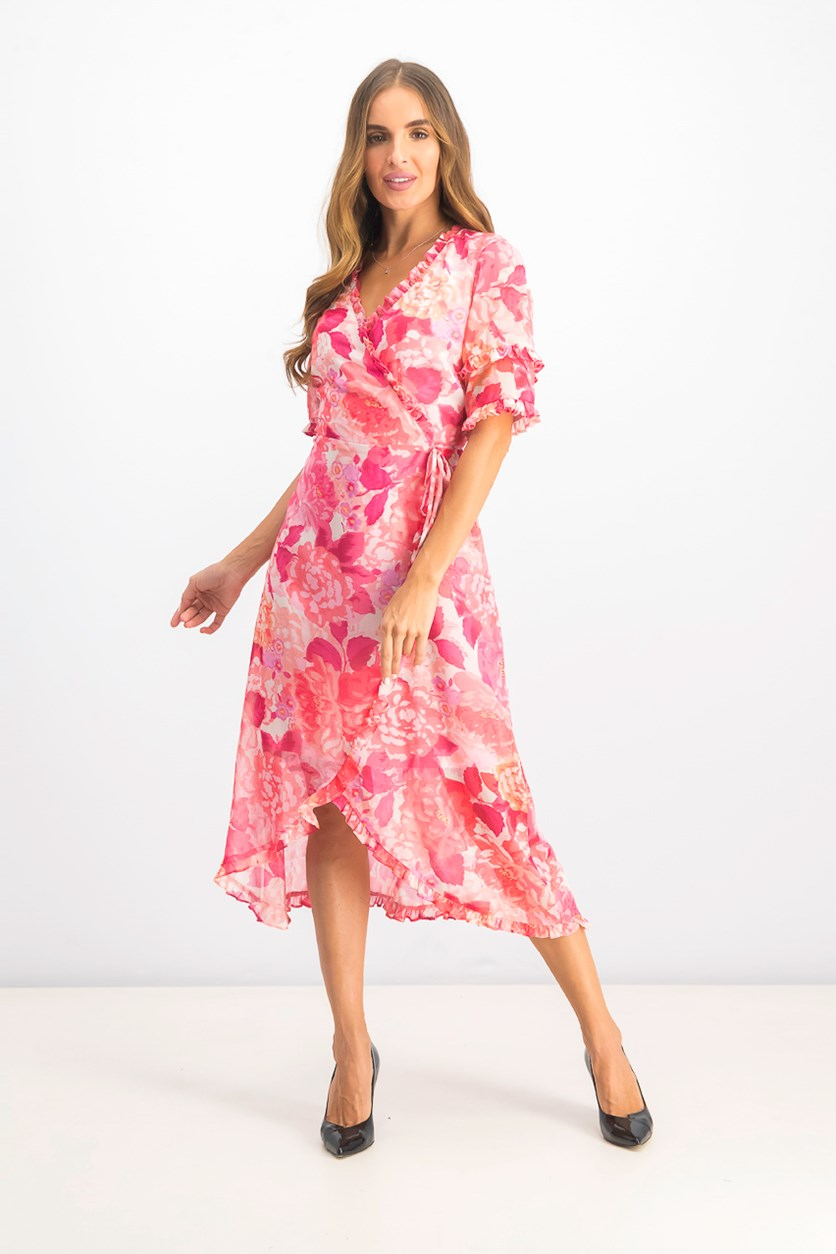 Women's Ruffled Floral-Print Wrap Dress, Pink Combo