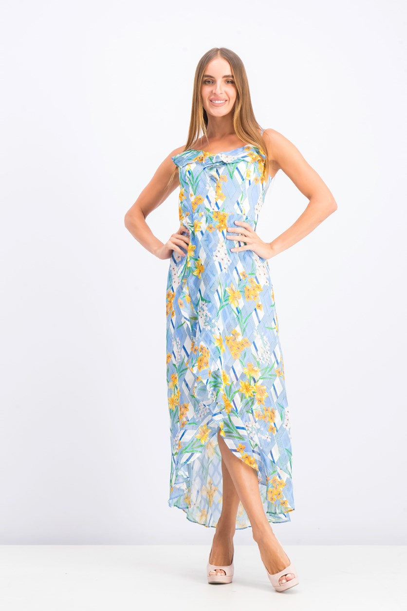 Women's Floral Print Dress, Blue Combo