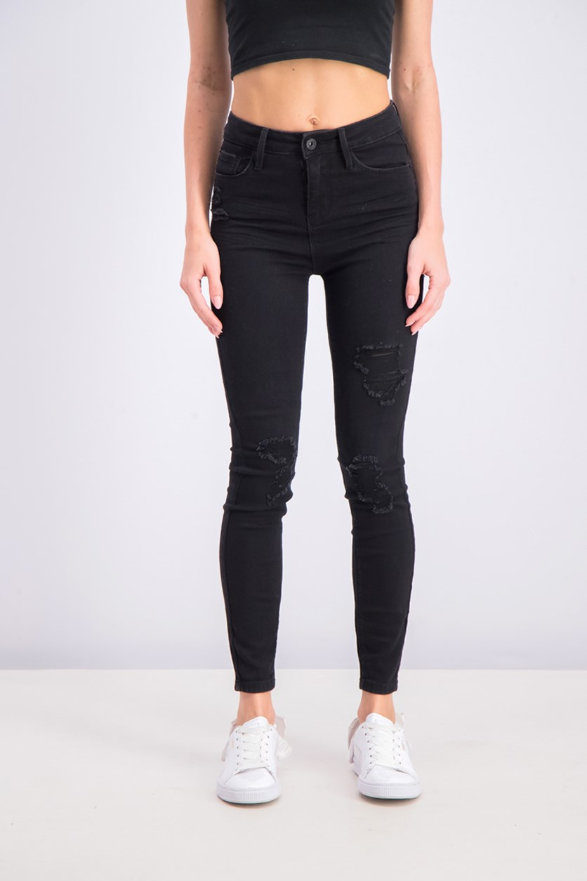 Juniors' Ripped High-Rise Skinny Jeans, Black