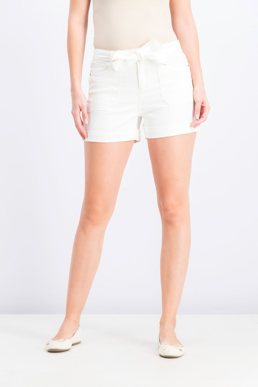 Women's Juniors' Belted Utility Shorts, White