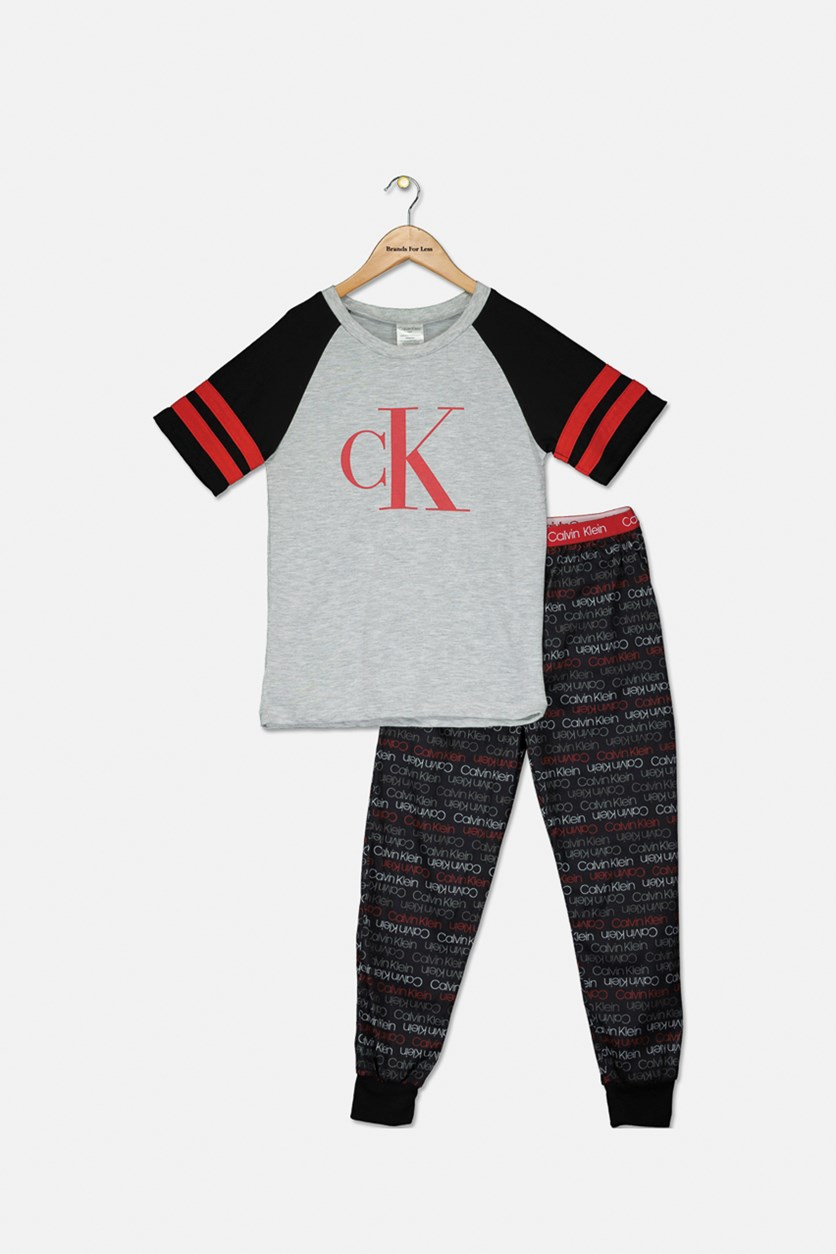 Big Boys 2-Pc. Logo-Print Pajama Set, Heather Gray/Black/Red