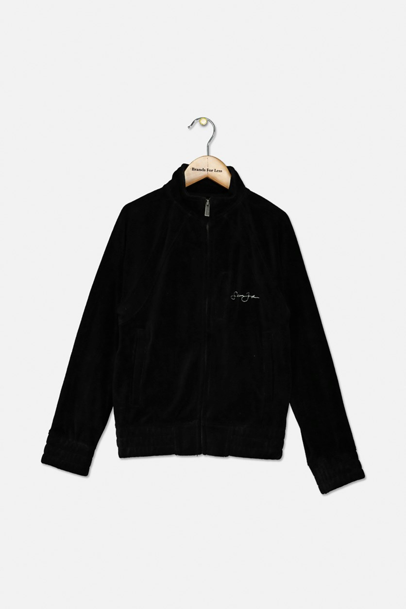 Big Boys Signature Velour Zip-Front Jacket, Black