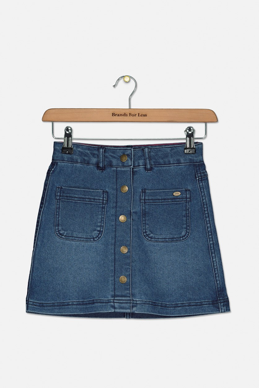 Big Girls  Denim Skirt, Medium Wash Denim