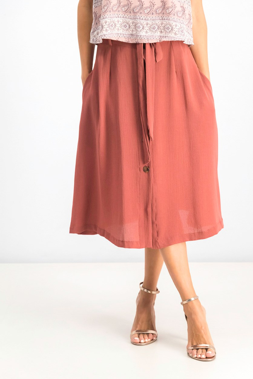 Women's Alyssa Button Down Skirt, Cinnamon
