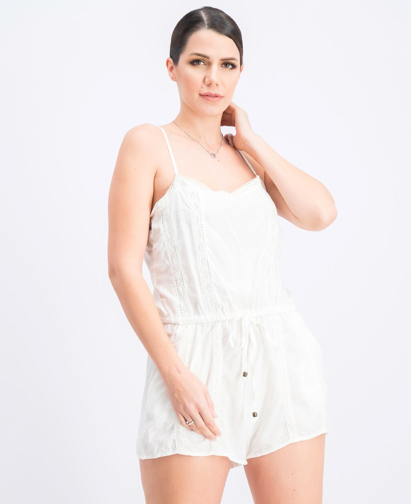 Women's Textured Romper, White