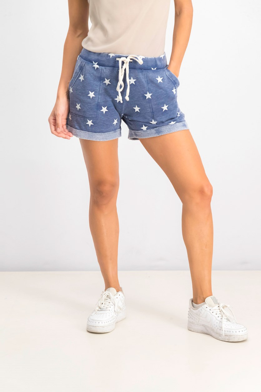 Women's Star Print Shorts, Navy