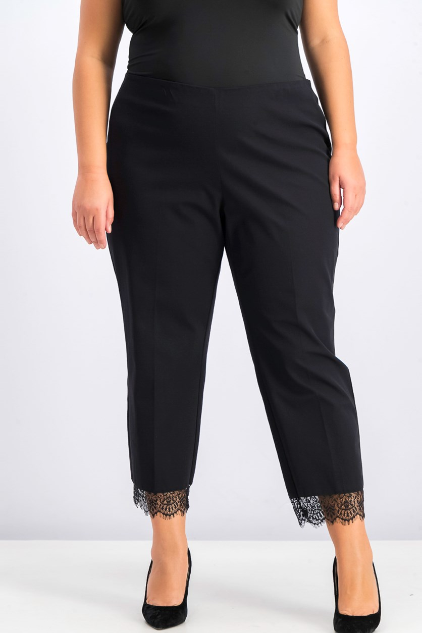 Women's Plus Size Lace-Hem Ankle Pants, Black
