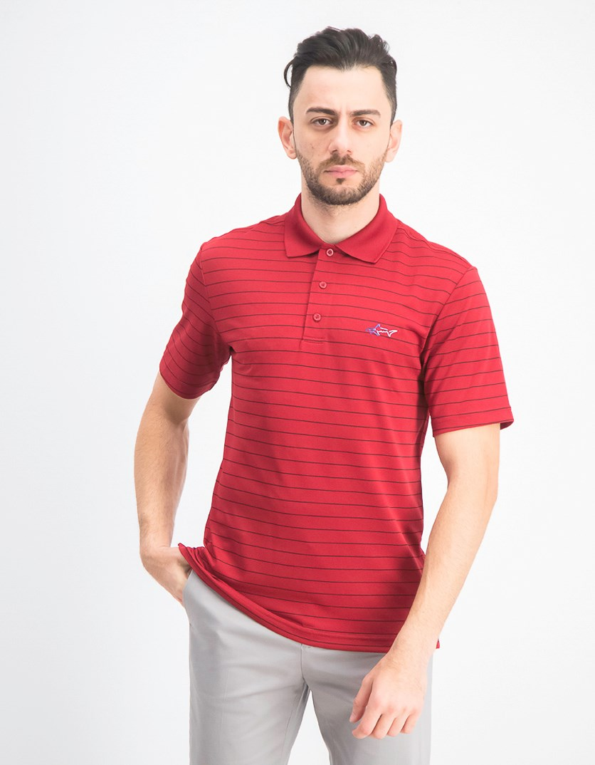 Men's 5 Iron Stripe Polo, Bright Crimson