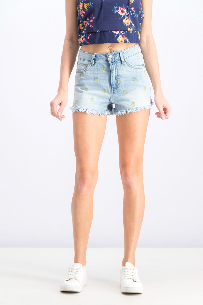 Juniors' Pineapple Embroidered Frayed Denim Shorts, Wash Blue