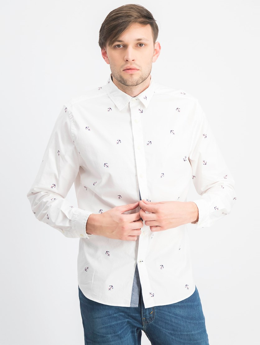 Men's Allover Anchor Print Shirt, White