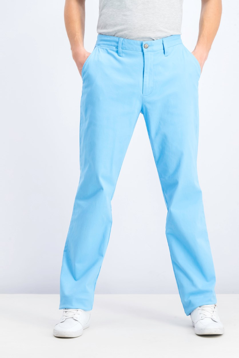 Men's Classic Flat-Front Deck Pants, Aqua Blue