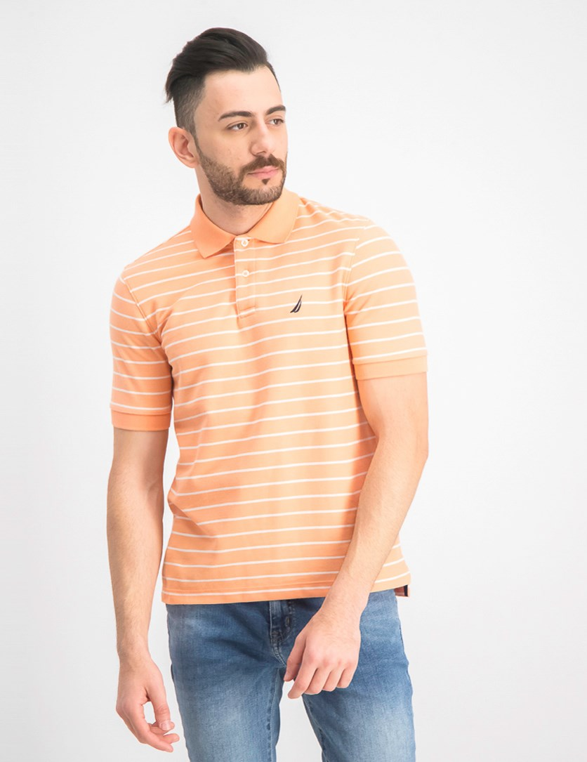 Men's Classic Fit  Striped Polo, Guava Punch