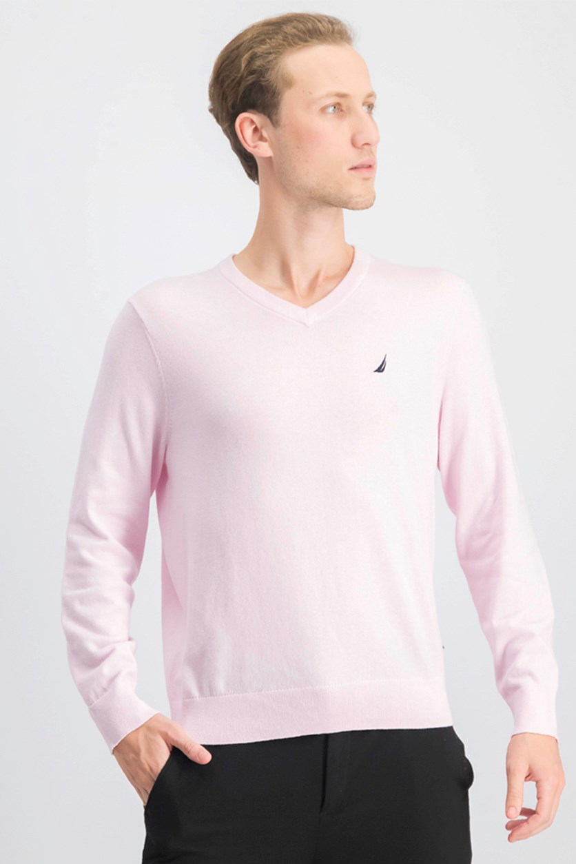 Men's V-Neck Classic Fit Sweater, Cradle Pink