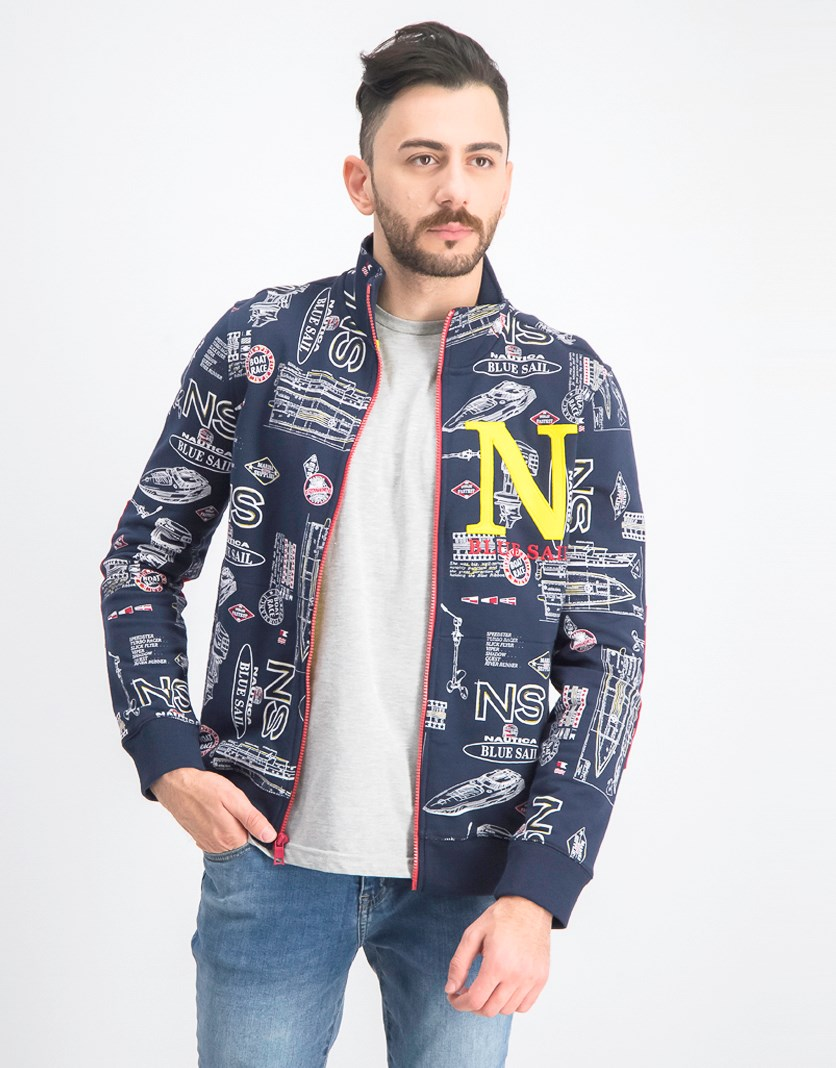 Men's Sail Printed Track Jacket, Navy/Yellow/Red