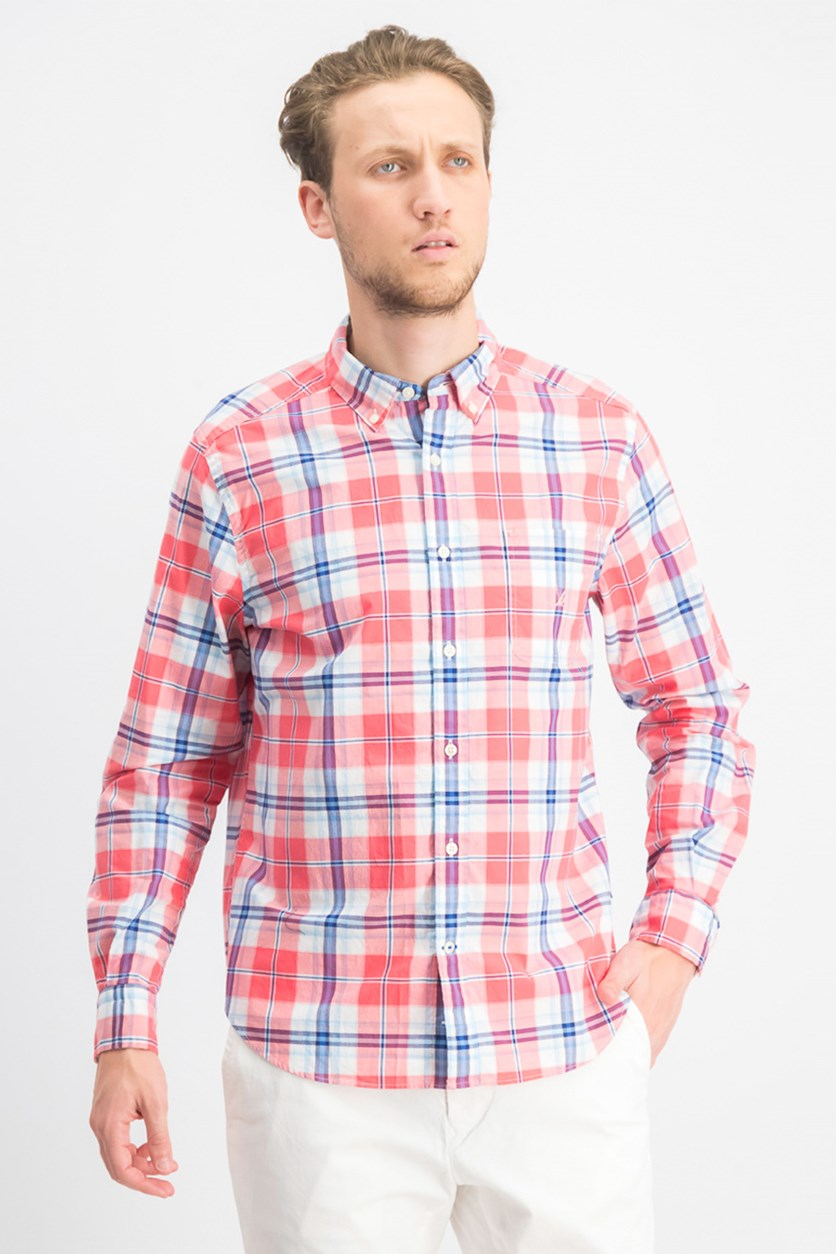 Men's Sail Classic-Fit Performance Stretch Plaid Shirt, Blue