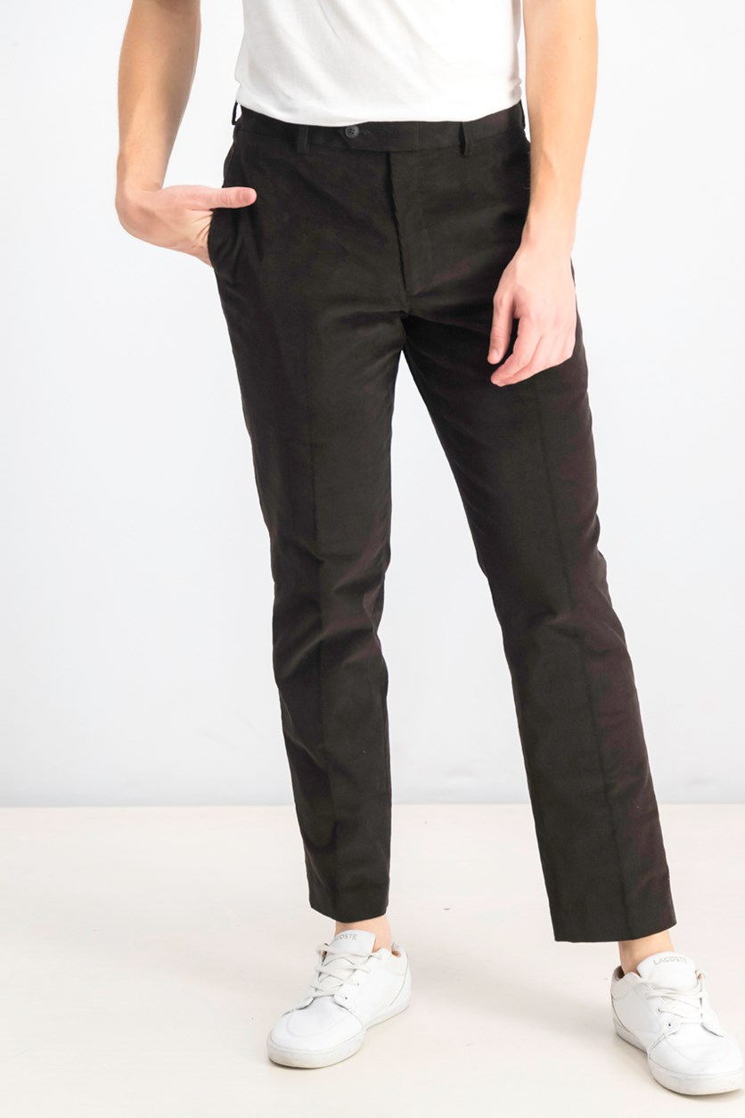 Men's Pull On Slim Fit Corduroy Pants, Black