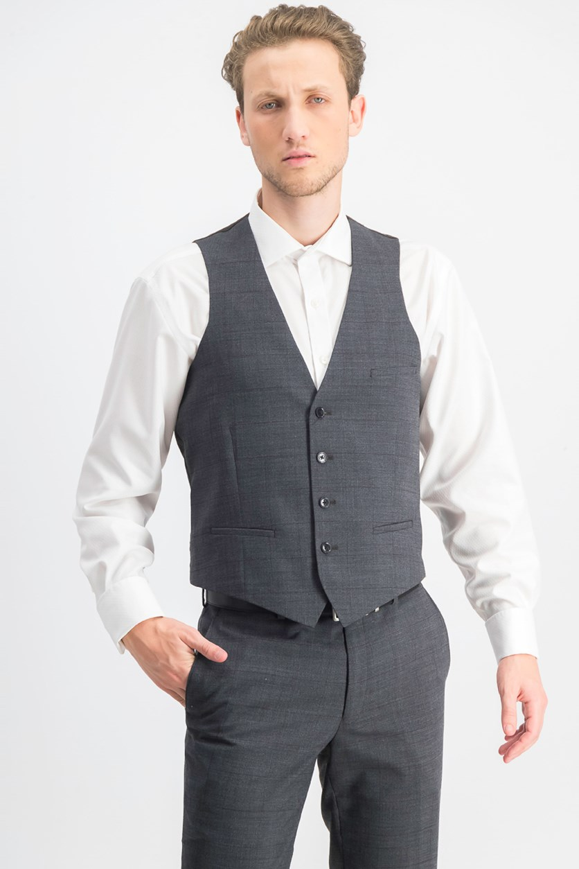 Men's Slim-Fit Windowpane Sharkskin Vest, Grey