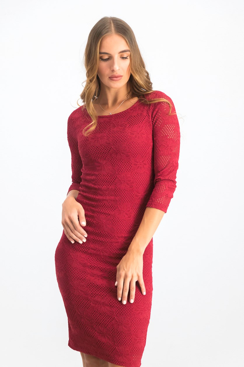 Women's 3/4 Sleeve Body Con Dress, Maroon